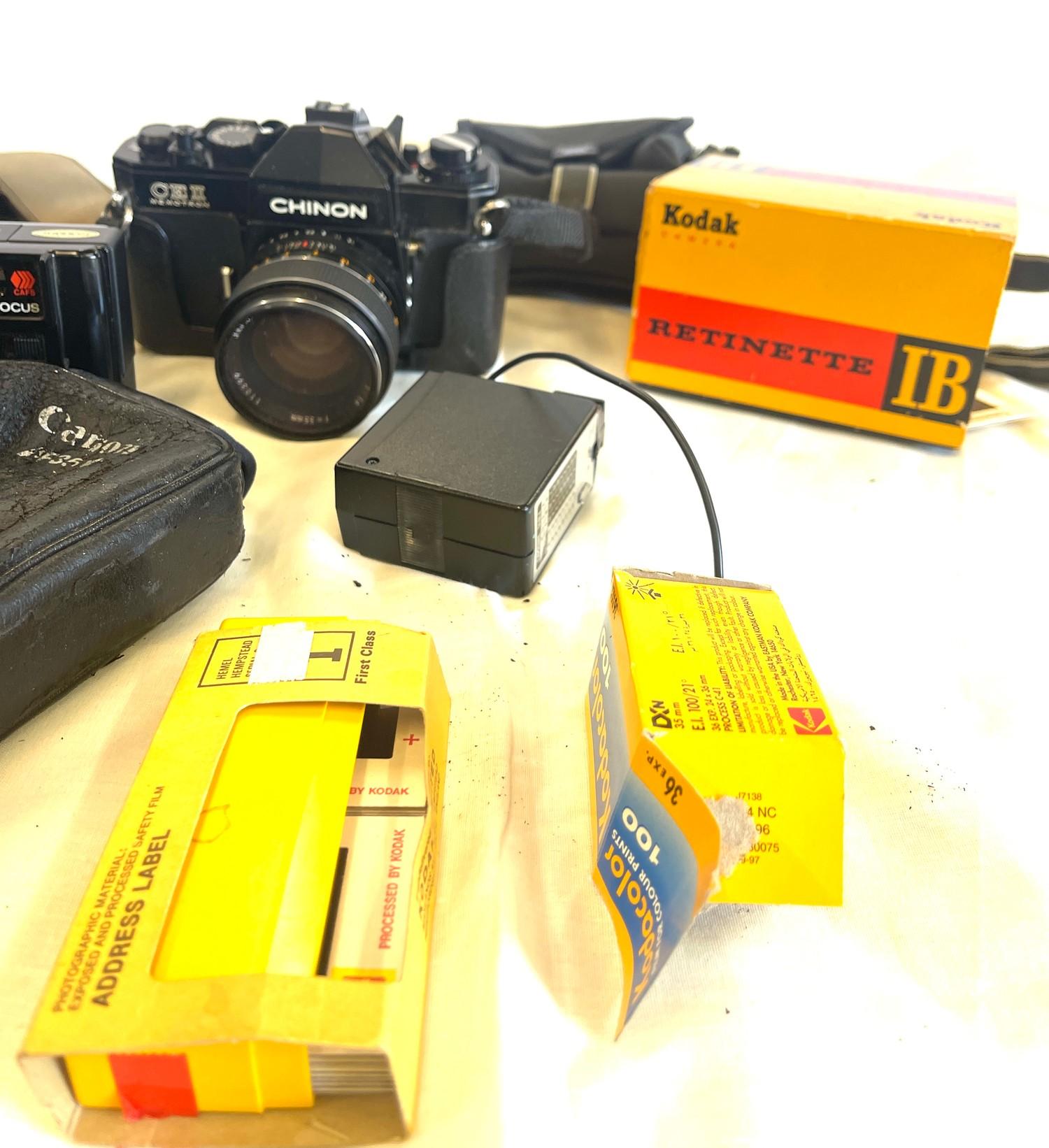 Selection of cameras to include Canon AF35m, Kodak Retinette 1b, Chinon CEII memotron camera, - Image 4 of 4