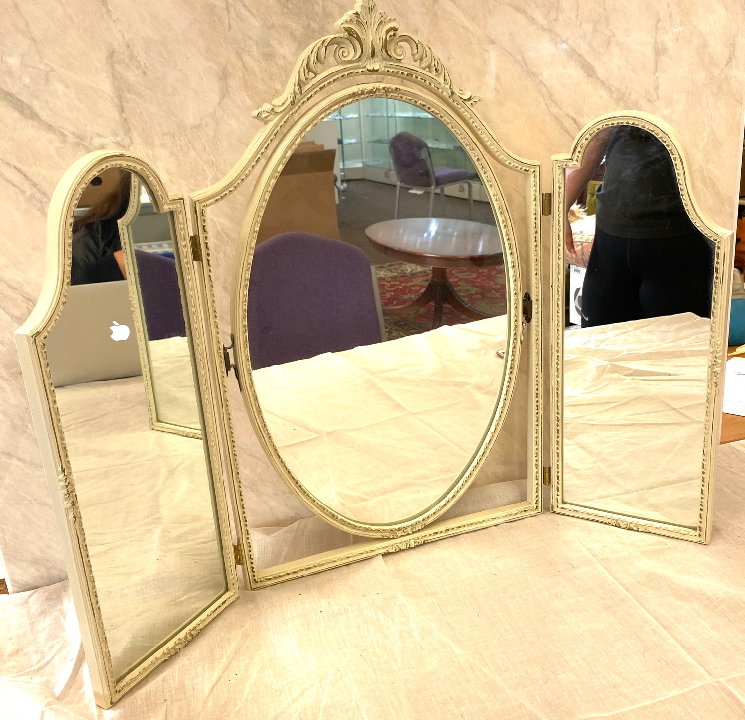 White painted triple dressing table mirror