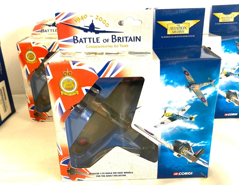 Selection of 5 Boxed Corgi battle of britain air craft model 49101 Hawker hurricane MKI 85 Sqd Raf - - Image 4 of 4