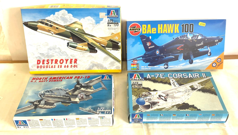 Selection of 4 boxed model air crafts includes, Destroyer Douglas EB 66 E-DL, Airfix BAe Hawk 100,