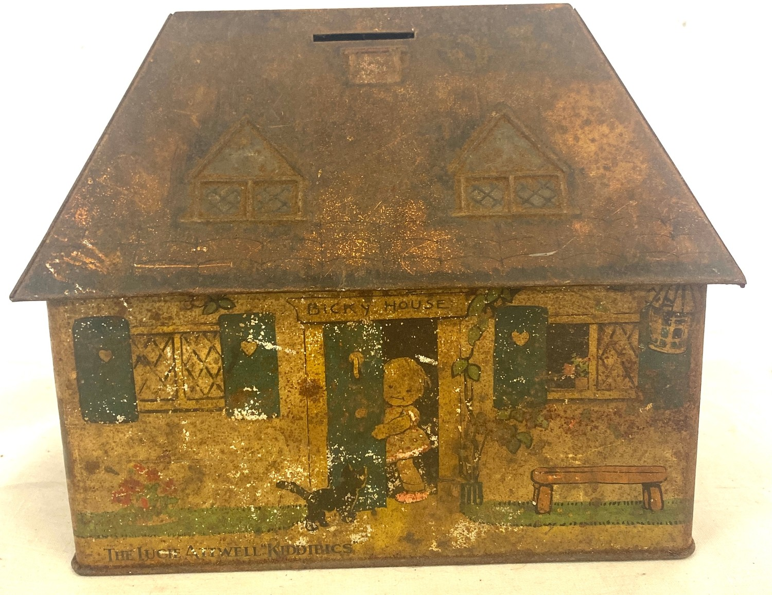 Mabel Lucy Attwell tin money box in the form of a house
