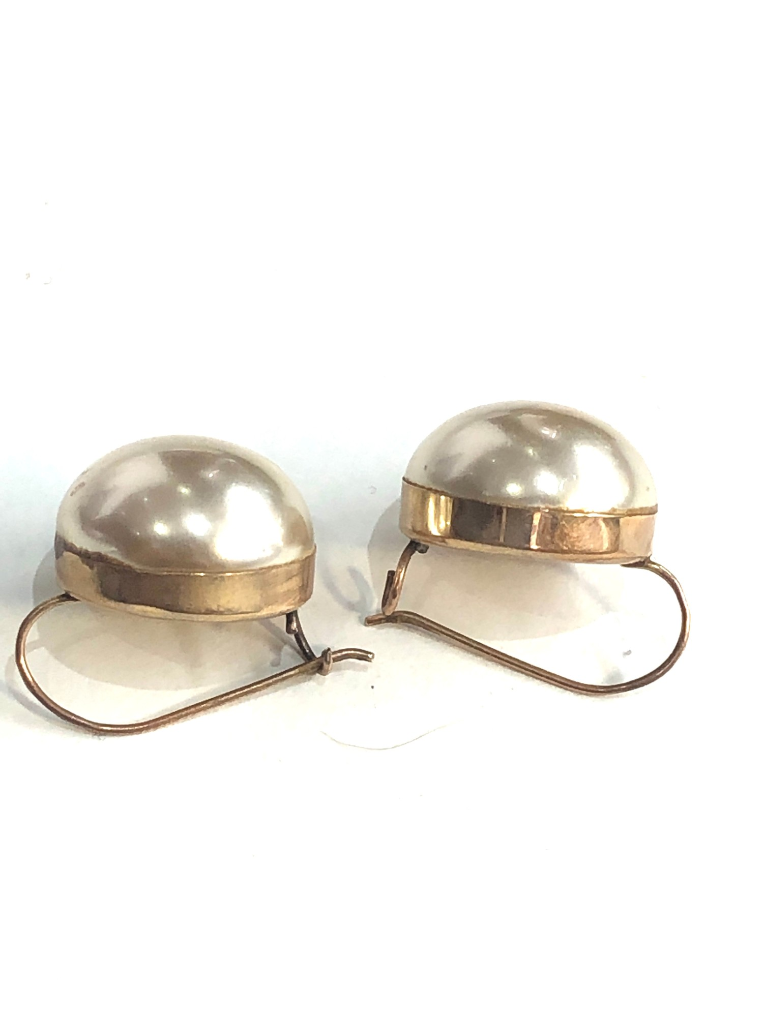 9ct gold large pearl set hook earrings weight 6.3g - Image 2 of 3