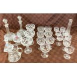 Selection of glassware includes decanters, Silver topped flower vase etc