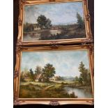 2 Large gilt framed pictures depicting houses