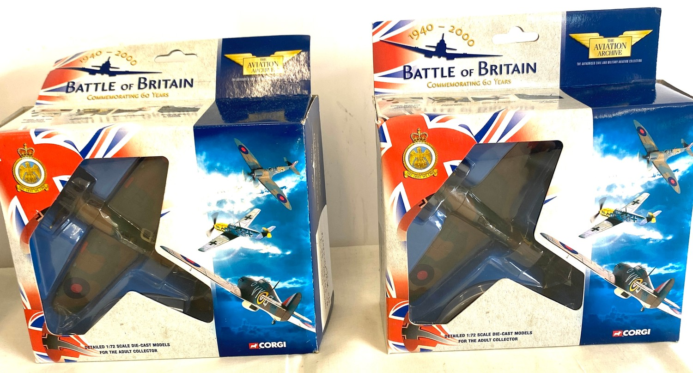 Selection of 5 Boxed Corgi battle of britain air craft model 49101 Hawker hurricane MKI 85 Sqd Raf - - Image 3 of 4