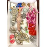 Tray of costume jewellery, includes wrist watches, earrings etc