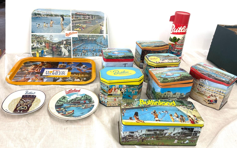 Selection vintage Butlins advertising tins, tray, flask, stanhope