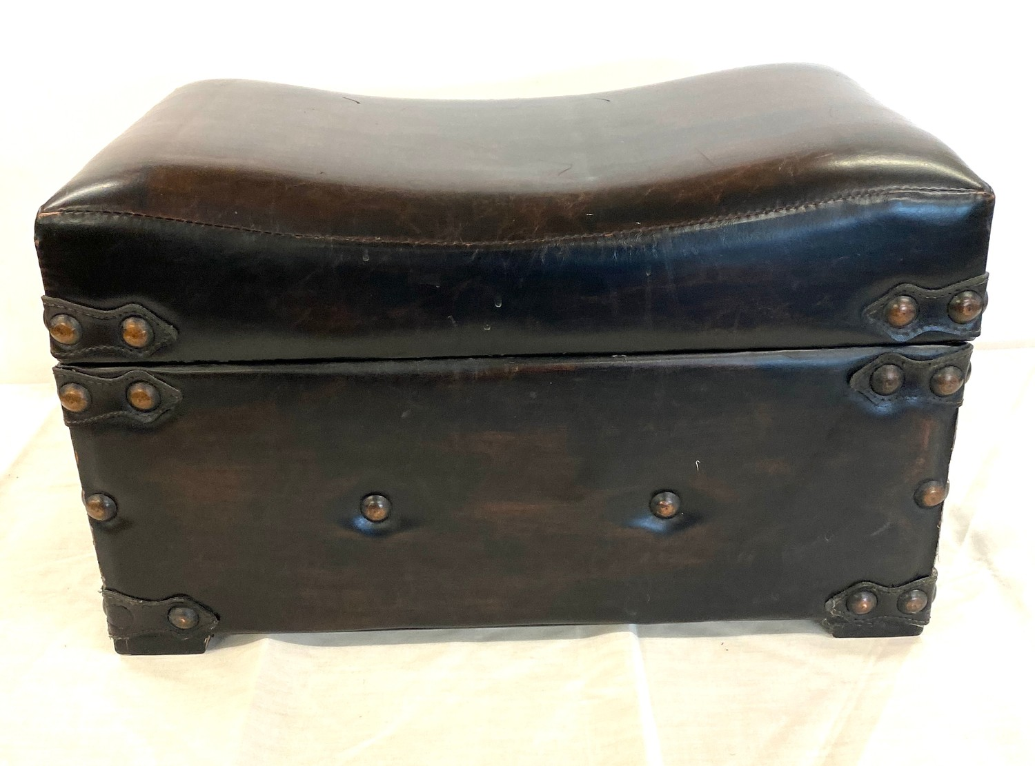 Faux leather foot stool trunk