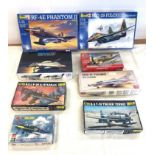Selection of 8 boxed craft models to include, tamiya Douglas F4D-1, Revell Mig-29 Fulcrum, Rf-4e