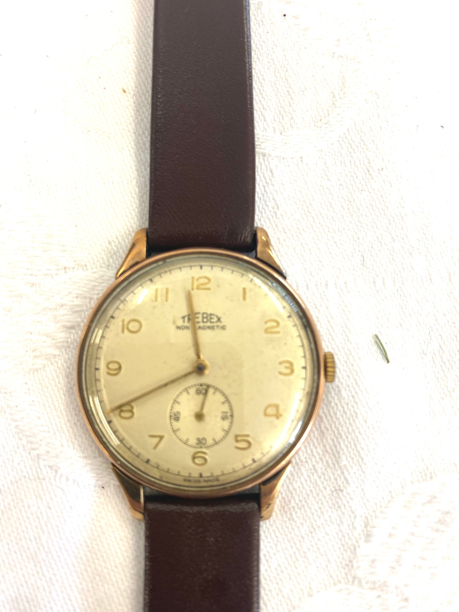 Vintage large 34mm S&L 9ct gold Swiss Trebex mens presentation watch, name engraved to back, - Image 2 of 3
