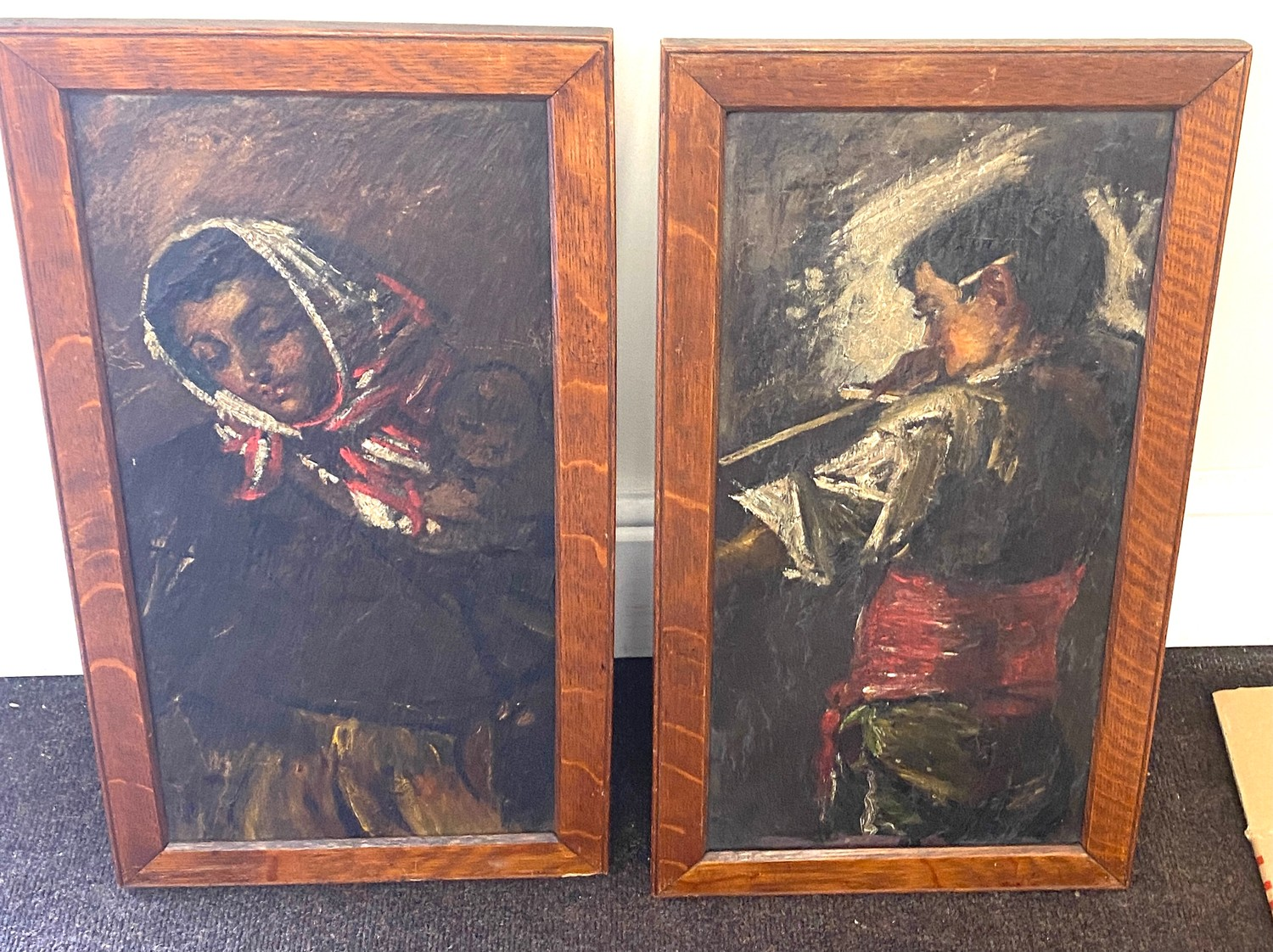 Pair of antique paintings on slate, signed on the frame.
