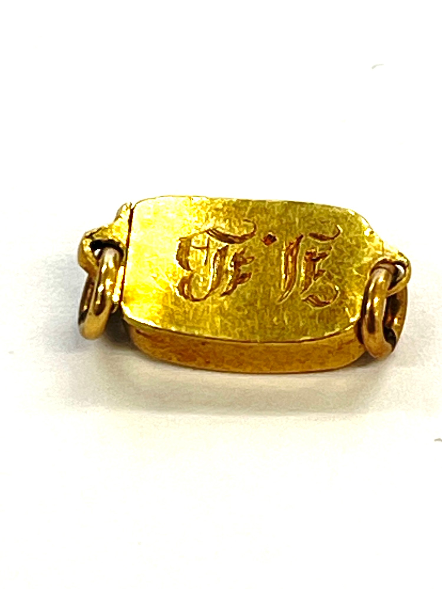 gold antique clasp with snake around fleur de lis etched - Image 2 of 2