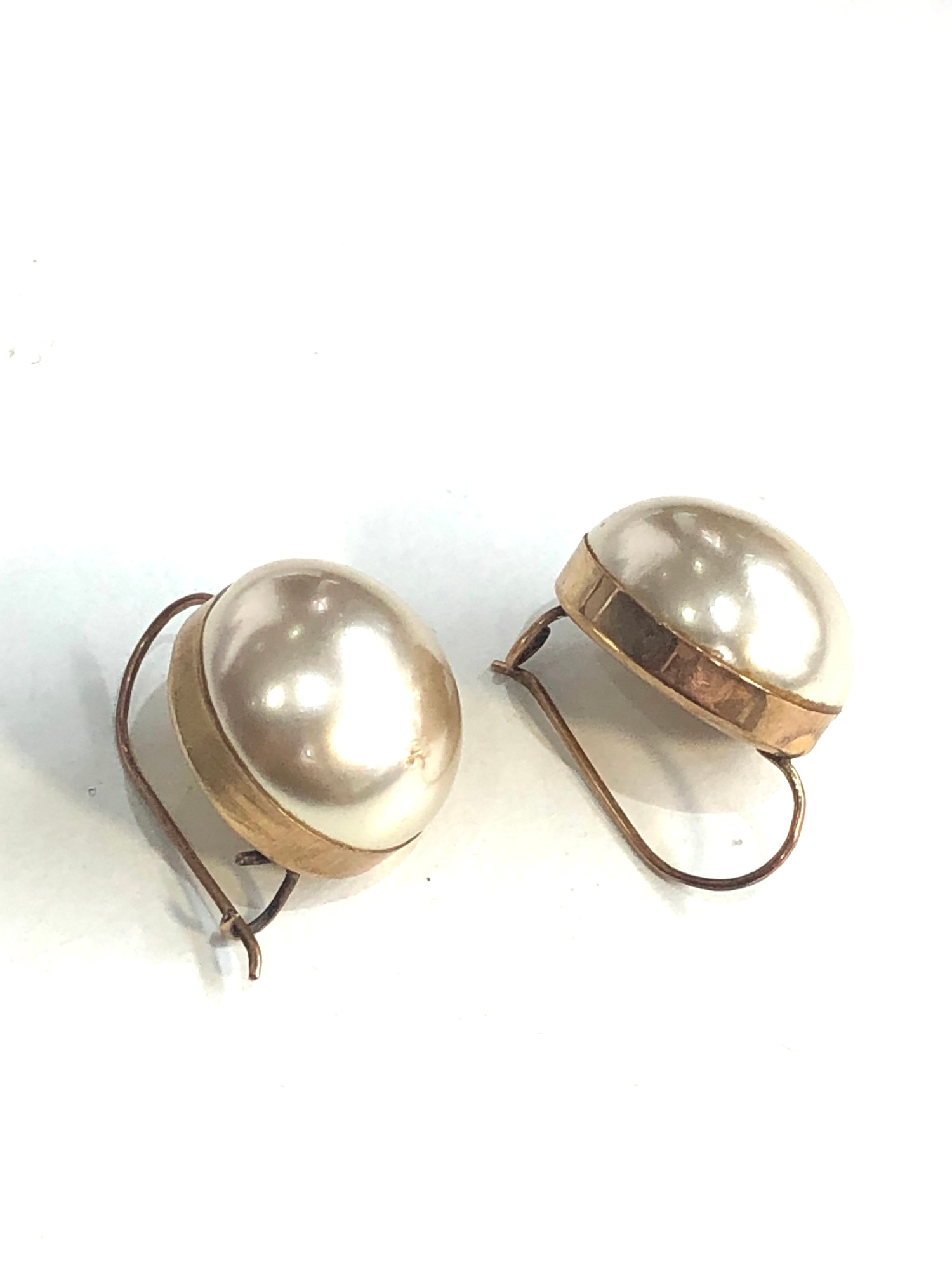 9ct gold large pearl set hook earrings weight 6.3g