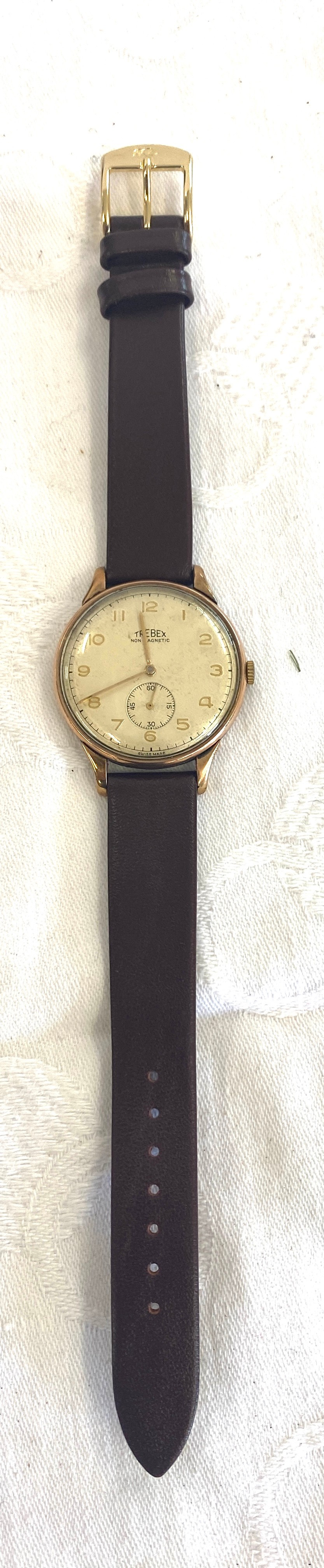 Vintage large 34mm S&L 9ct gold Swiss Trebex mens presentation watch, name engraved to back,