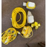 Selection of 110v extention leads, light leads, air hose etc