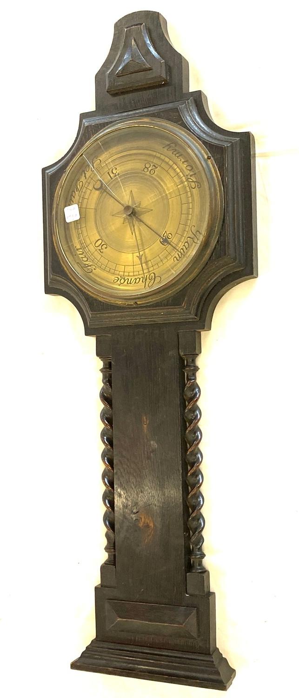 Oak framed barley twist barometer - broken glass