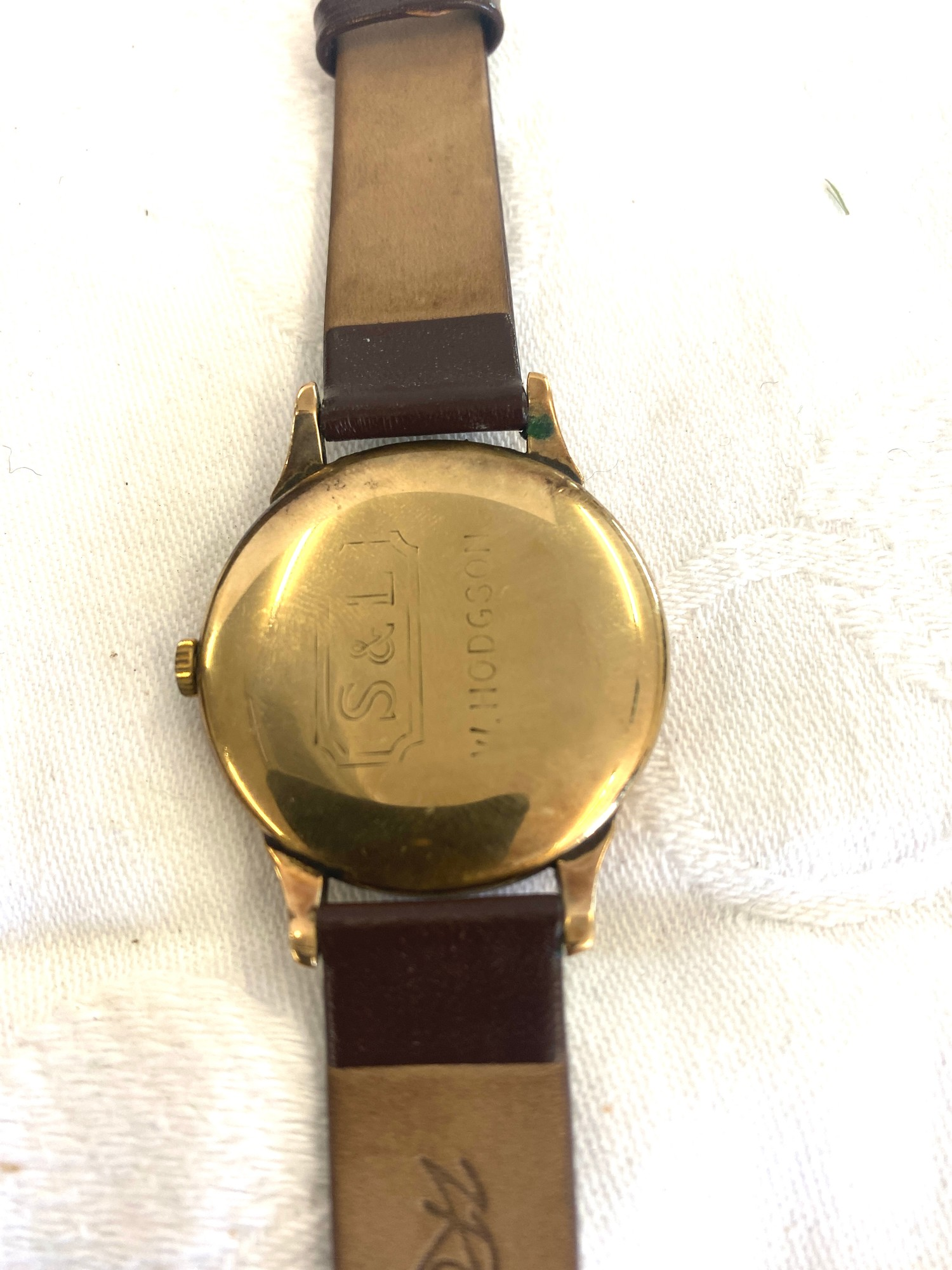Vintage large 34mm S&L 9ct gold Swiss Trebex mens presentation watch, name engraved to back, - Image 3 of 3