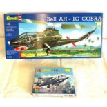 2 boxed craft models, Airfix hawker p.1127, Revell Bell Ah 1G Cobra