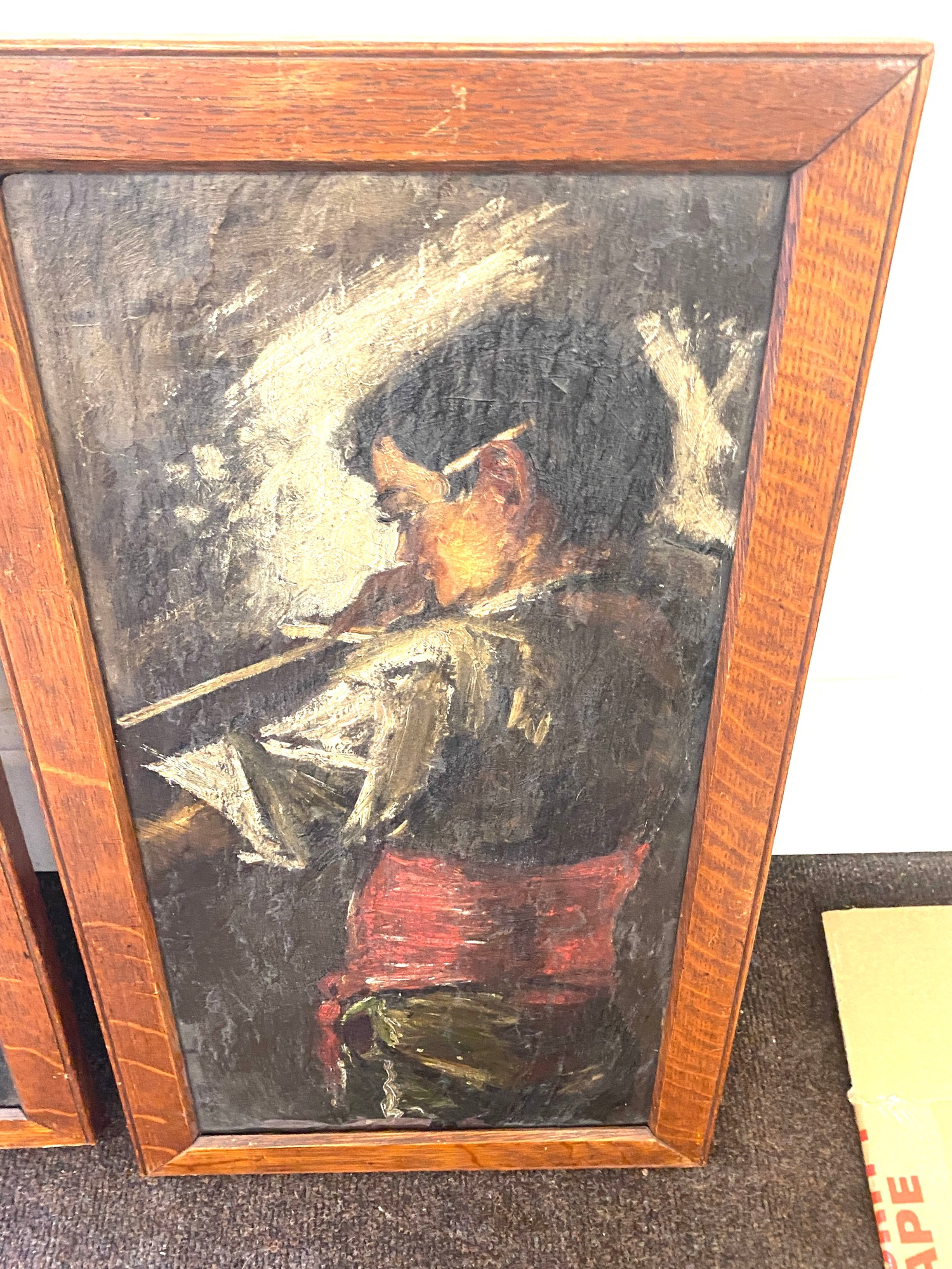 Pair of antique paintings on slate, signed on the frame. - Image 2 of 3
