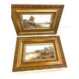 2 Gilt framed oil on board antique pictures