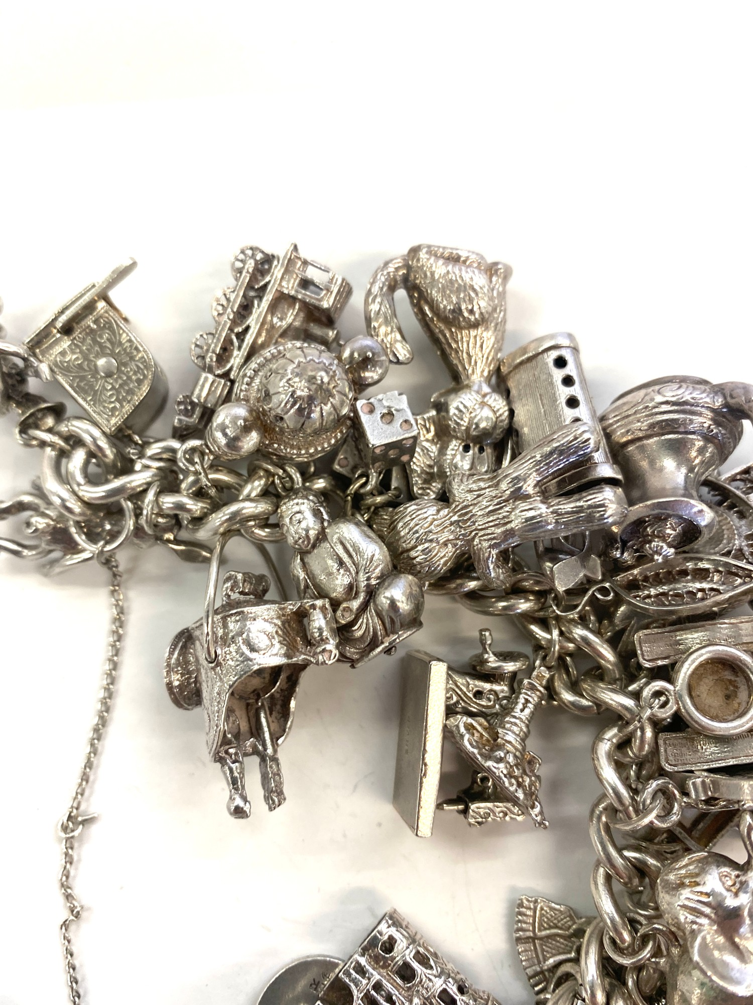Silver charm bracelet weight approx 184.8g - Image 2 of 4