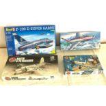 Selection of 4 boxed model air crafts includes, Airfix Aichi D3a1, Martin B-26 Marauder, Super sabre