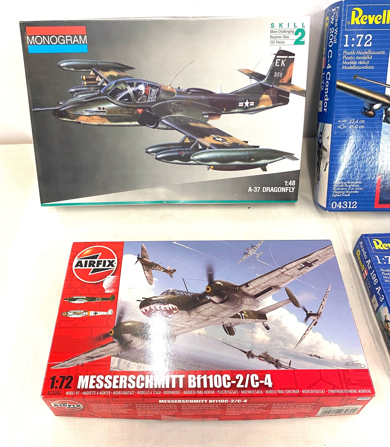 Selection of 4 boxed model air crafts includes, Monogram 5486, Airfix Messerschmitt Bf110C-2, Revell - Image 2 of 3