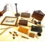 Selection of wooden items includes chess set, candle stick etc