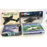 Selection of 4 Model boxed air crafts includes, German bomber, Hughes Ah-64, Viet Nam, F-27 Fokker