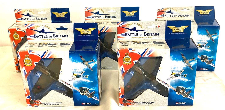 Selection of 5 Boxed Corgi battle of britain air craft model 49101 Hawker hurricane MKI 85 Sqd Raf -