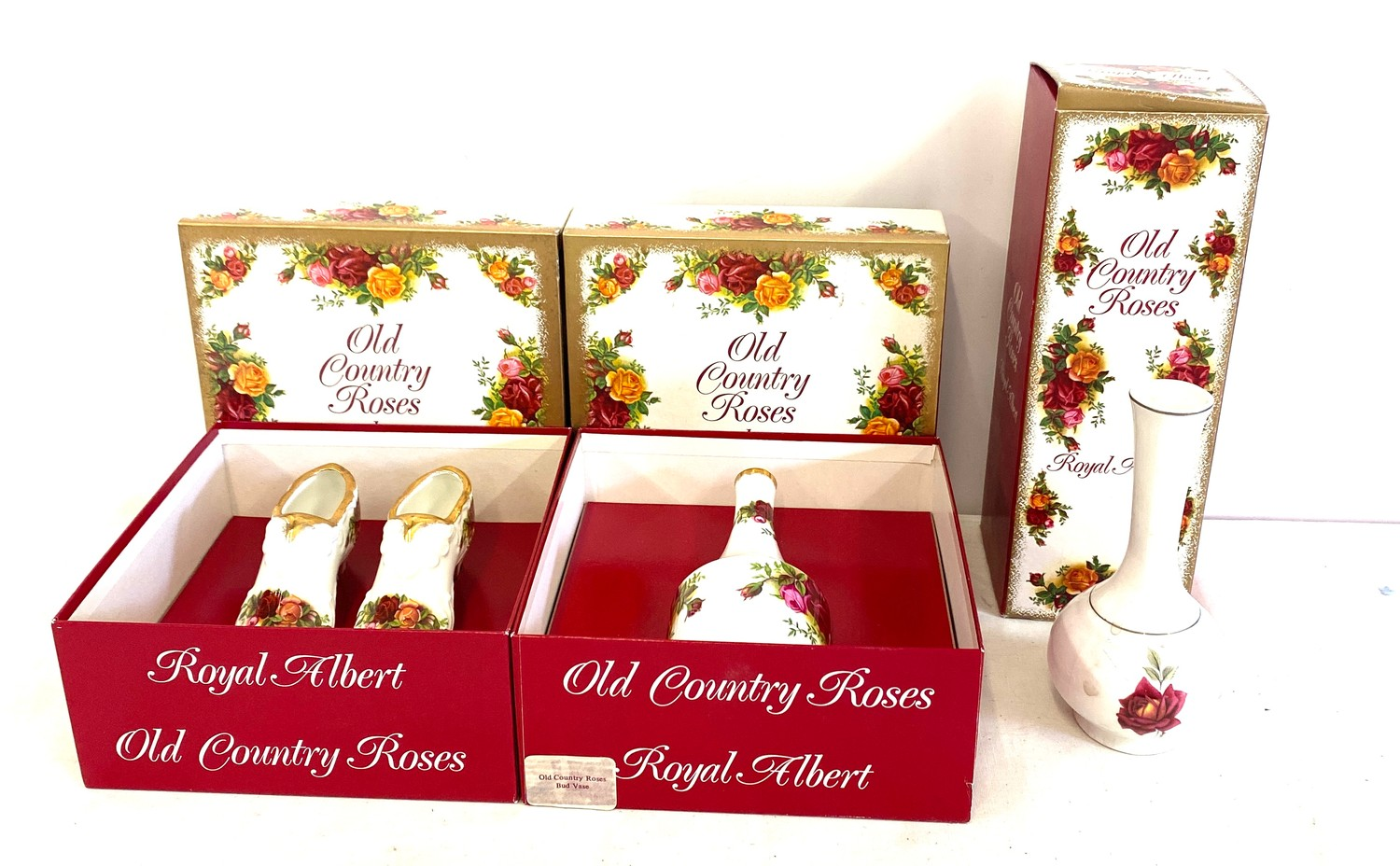 3 Boxed Royal Albert Old Country Roses pottery pieces includes vases etc