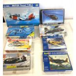 Selection of 8 boxed airfix models to include, Trumpeter gannet T.MK.2, Airfix Seasprite, Buffalo