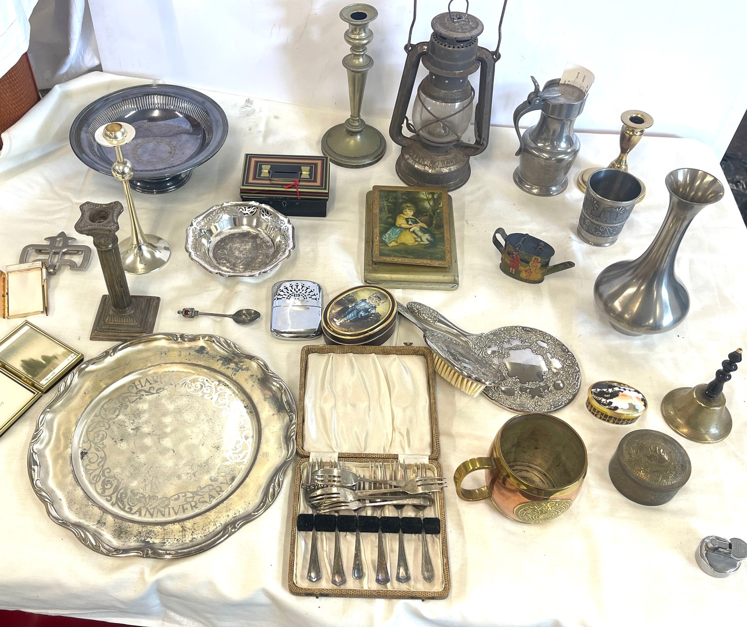 Selection of Assorted metal items, includes tilly lamp, brass candle stick, photo frames etc
