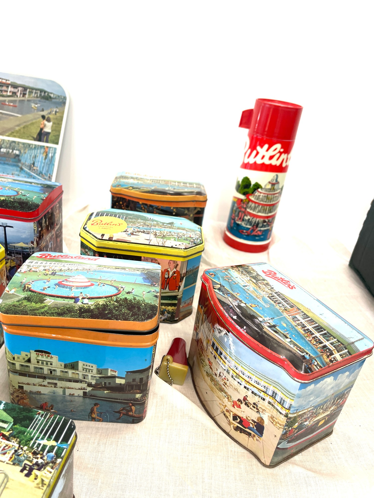 Selection vintage Butlins advertising tins, tray, flask, stanhope - Image 2 of 5