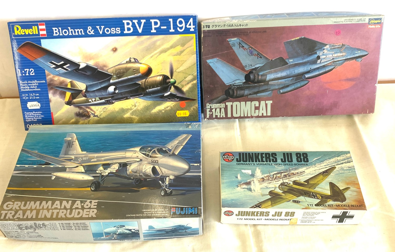 Selection of 4 boxed model air crafts includes, Grumman A-6E Tram, Grumman F-14A Tomcat, Revell