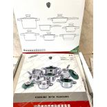 Brand new in box set of Green Cooking Limited edition saucepan set
