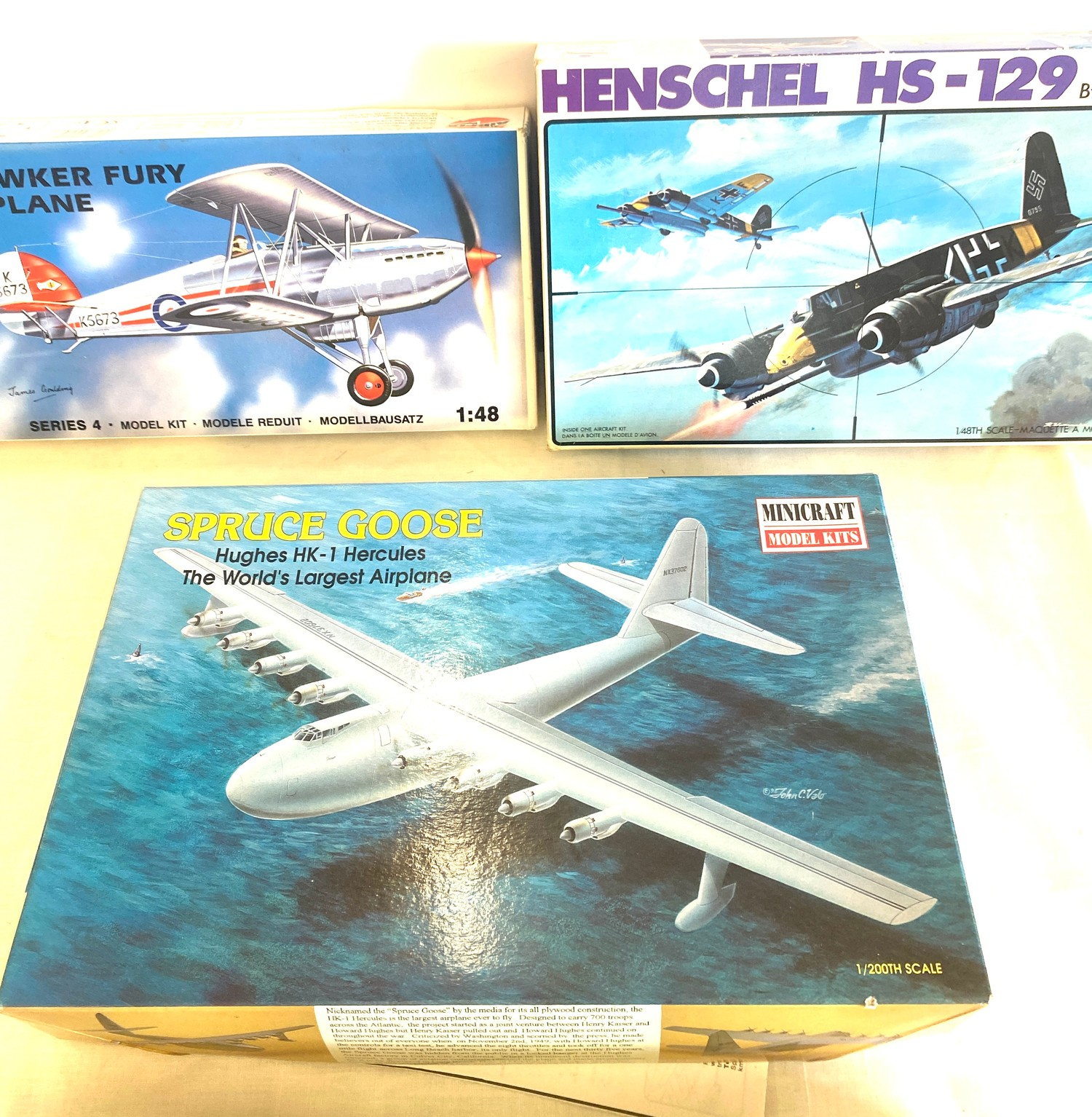 Selection of 4 boxed model air crafts includes, Henschel HS-129, Hawker Fury Biplane, Spruce Goose - Image 2 of 3