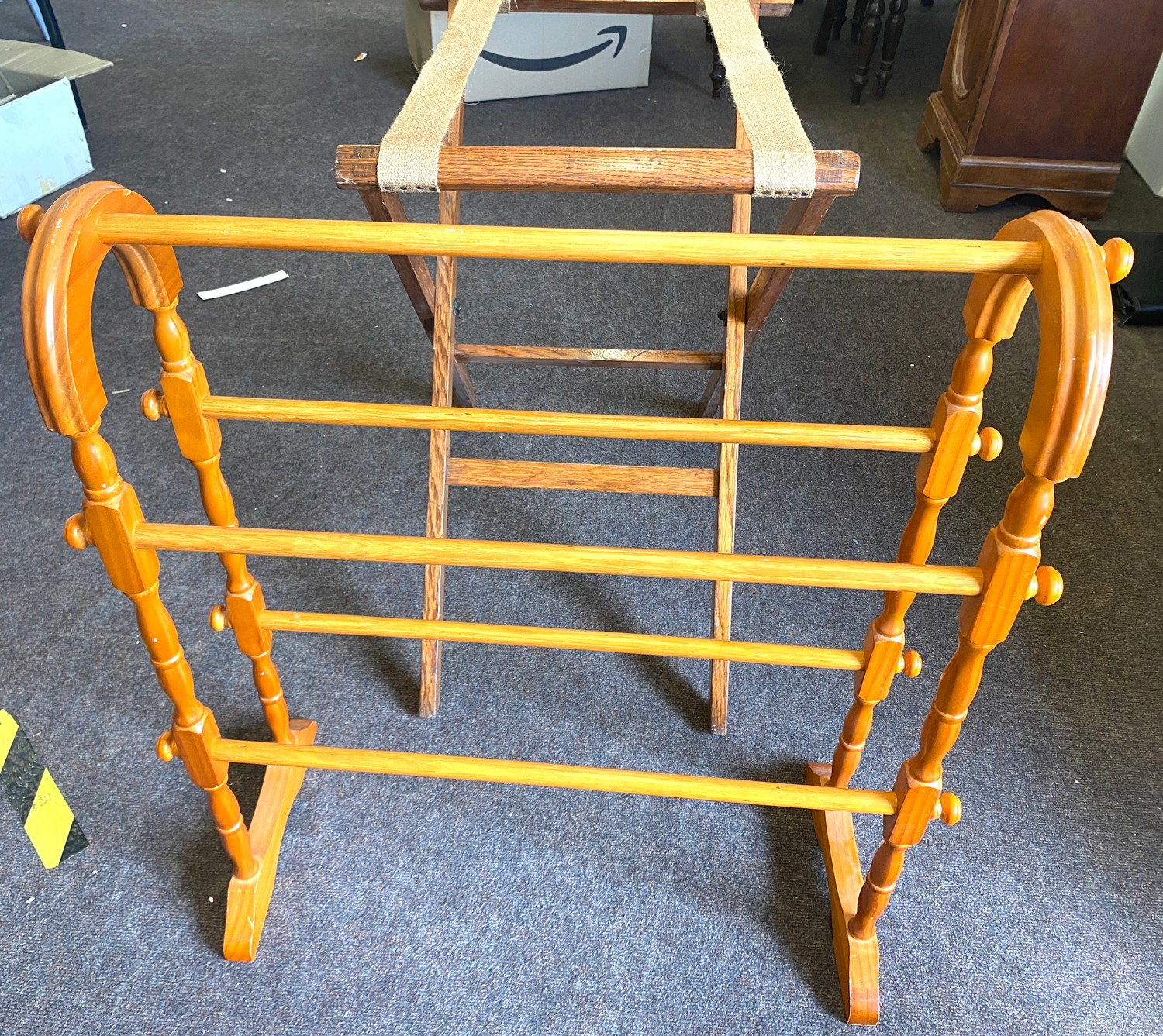 Vintage suitcase stand and a towel rail - Image 3 of 3
