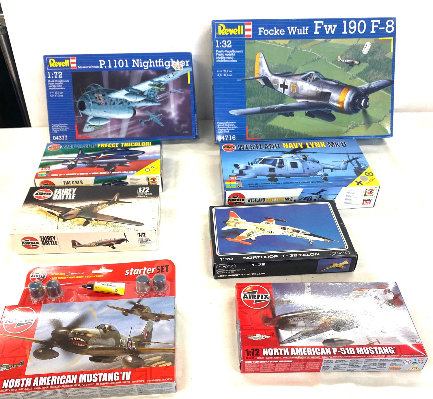 Selection of 8 boxed airfix models to include, Revell, P.1101 nightfighter, Focke Wulf FW 190,