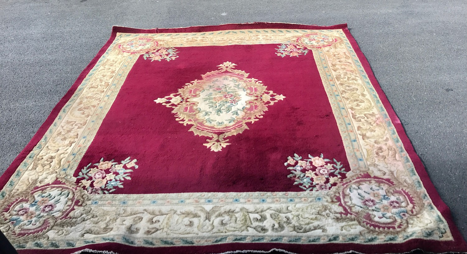 """Large rug measures approx 125"""" long by 110"""" wide has a few ware marks"""