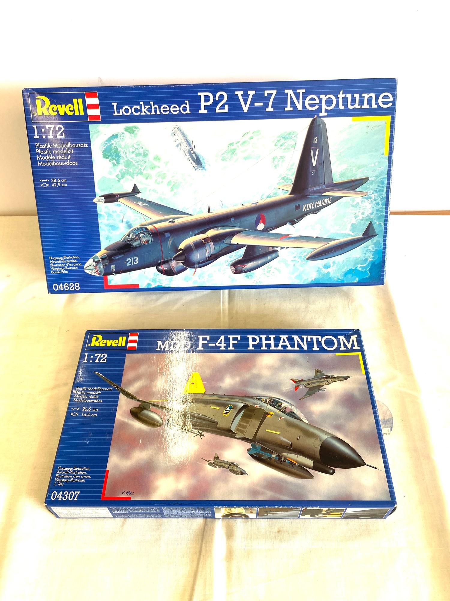 2 boxed craft models, Revell Lockhead P2 v-7, Mdd F-4F Phantom 04307