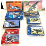 Selection of 8 boxed craft models to include, Revell Mig 1.44 MFI, RT-33A, messerschmitt BF109g-