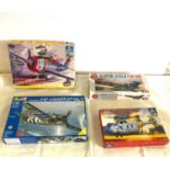 Selection of 4 boxed model air crafts includes, Testors No 805 Thunder Bolt, Revell Grumman F4F 4/