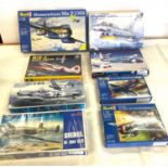 Selection of 8 boxed craft models to include, Revell Messerschmitt me P1099, EF-2000 Eurofighter,