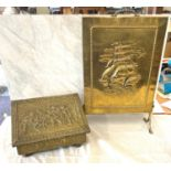 Vintage brass slipper box and fire screen