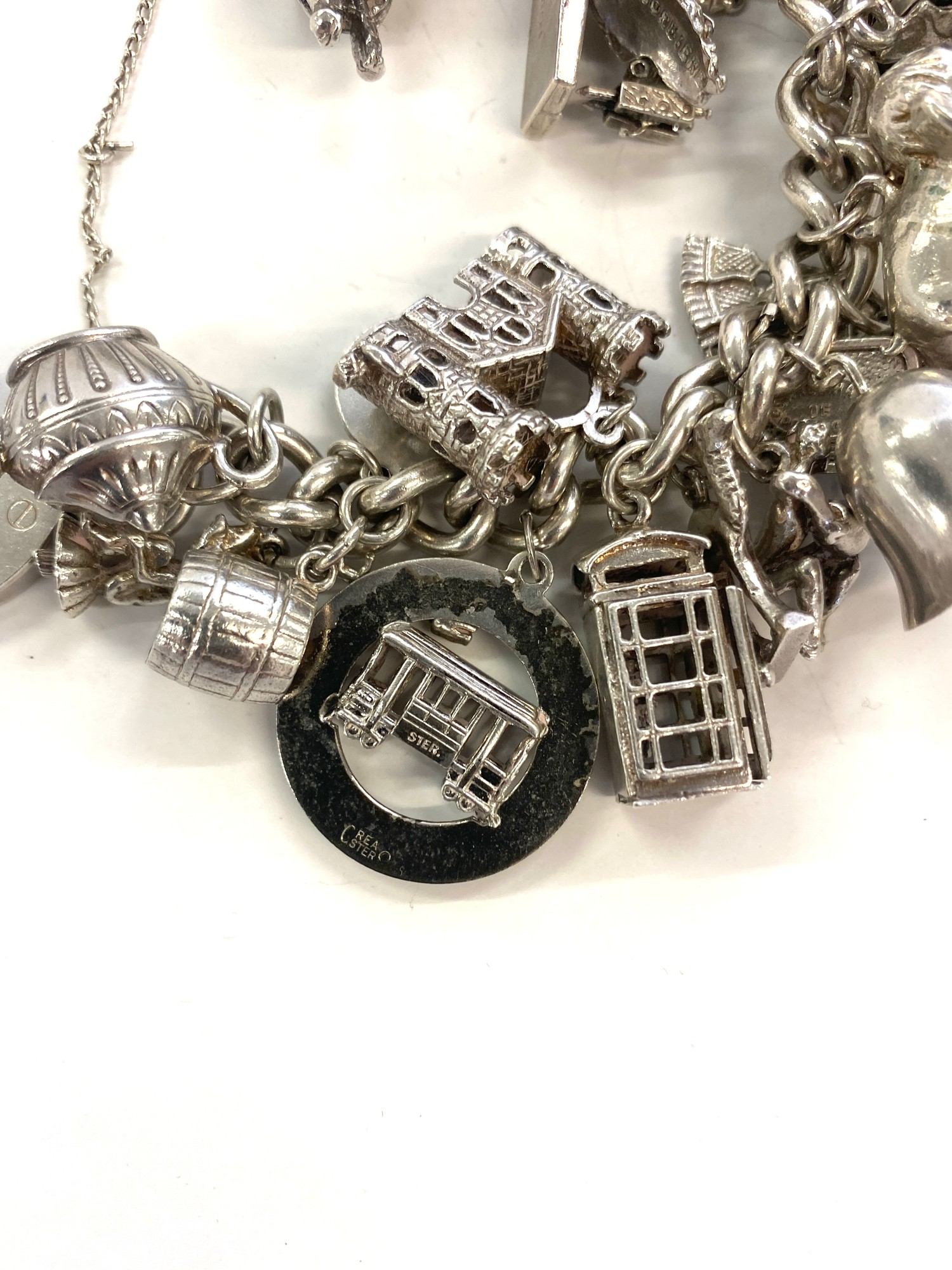 Silver charm bracelet weight approx 184.8g - Image 4 of 4