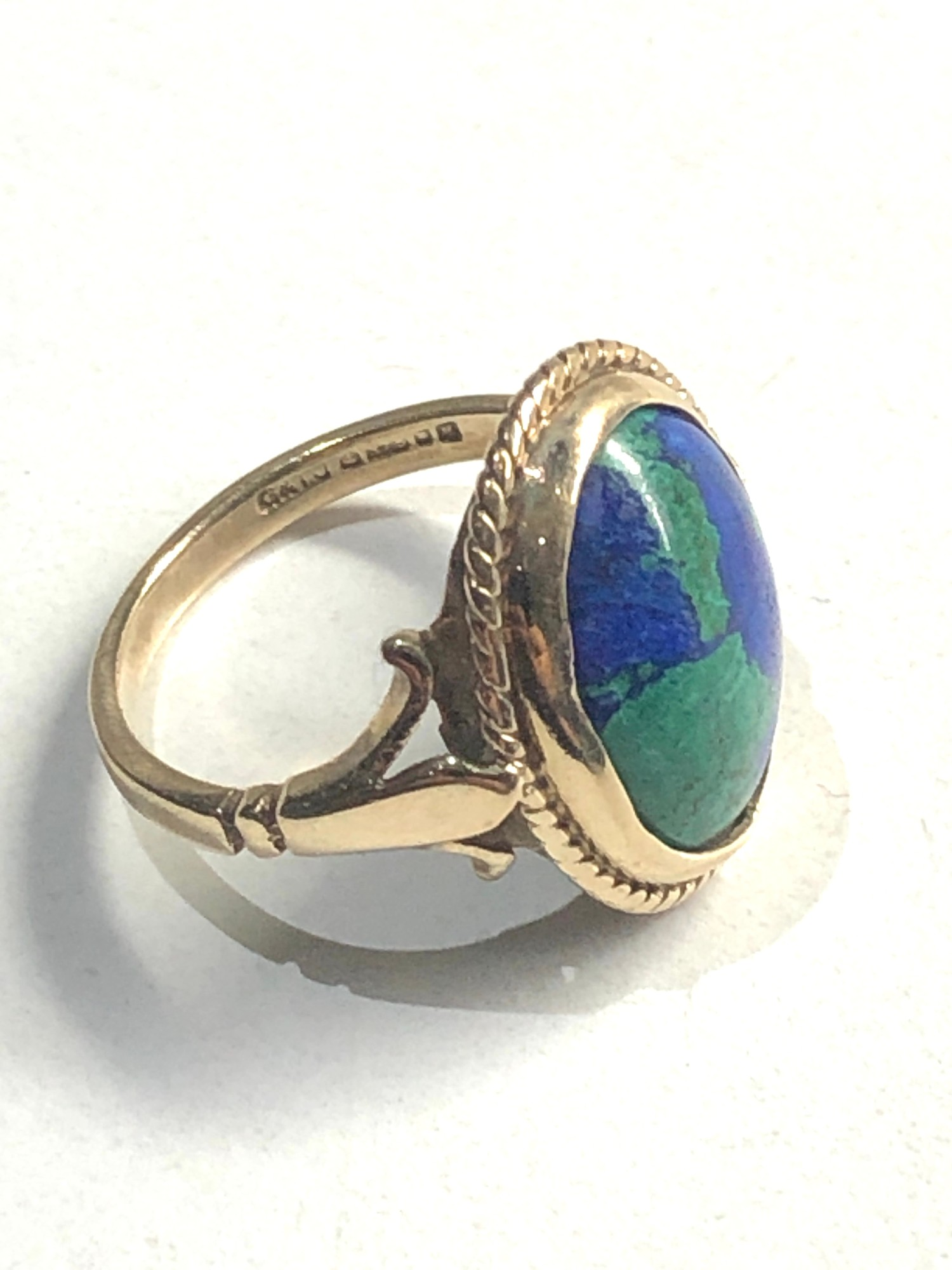 9ct azure malachite solitaire ring 3.5G - Image 2 of 3