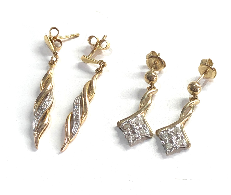 2 x 9ct Gold drop earrings w/ diamond detail 4.9g