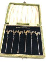 Fine set of 6 Silver antique art deco cockerel cocktail Sticks Original Box
