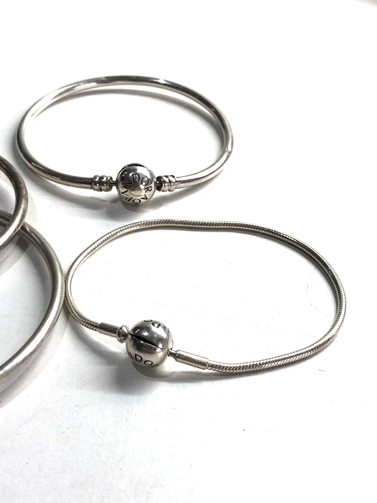 4 silver pandora bracelets - Image 3 of 3